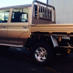 Landcruiser 70 series, dual cab, Outlawed heavy duty steel tray, colour coded