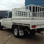 Landcriuiser 70 series, dualcab, high sided steel tray