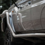 Colour matched TJM side rails, Toyota Landcruiser 70 Series Dual cab ute, chassis mount, rims, 63mm steel tubing